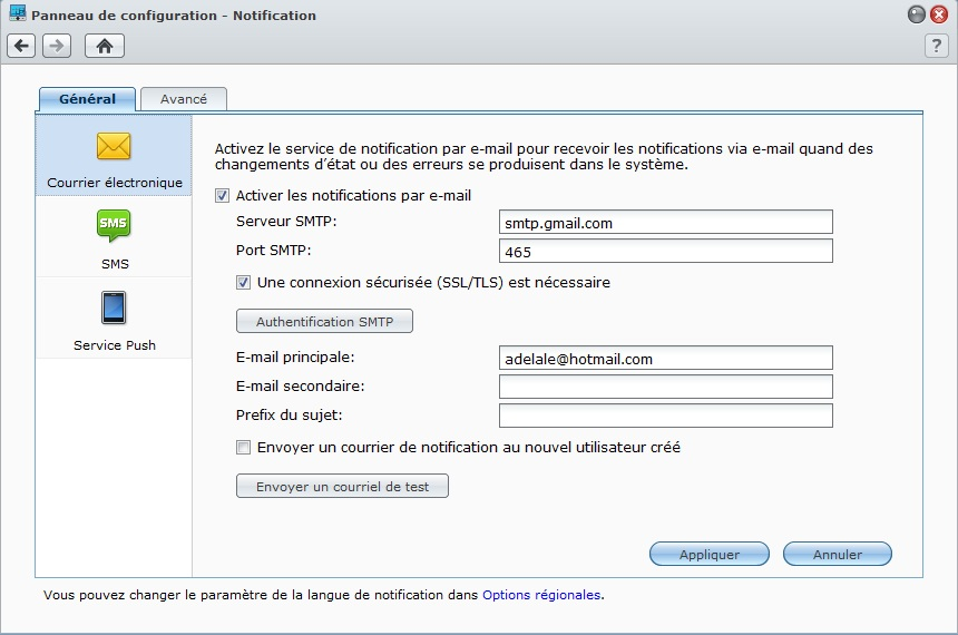 Synology : envoyer un mail avec PHP Synology_notificationmail